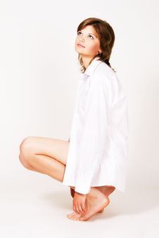 Free Pretty Young Woman In A White Shirt Royalty Free Stock Photos - 15019208