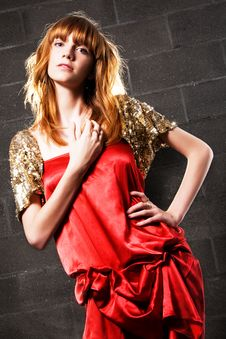 Free Fashionable Red-haired Woman In A Satin Red Dress Royalty Free Stock Image - 15019356