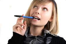 Free Portrait Of Business Girl With Pen Royalty Free Stock Photos - 15019598
