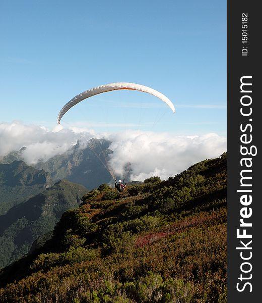 Parachuter in Madeira Island