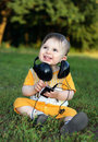Free Little Boy With Headphones Vertical Royalty Free Stock Photography - 15021617