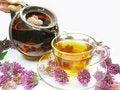 Free Pouring Floral Tea Into Cup Stock Photos - 15027393