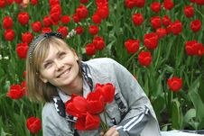 Free Portrait Of Girl With Tulips Royalty Free Stock Photo - 15020025