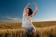 Free Young Woman At Wheat Stock Photo - 15020670