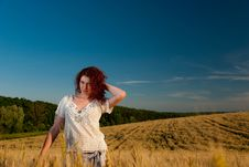 Free Young Woman At Wheat Royalty Free Stock Photography - 15020707
