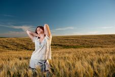 Free Young Woman At Wheat Stock Photos - 15020743