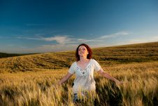 Free Young Woman At Wheat Stock Photo - 15020790