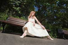 Free Dreamy Beautiful Blonde Bride Sitting Alone Stock Image - 15020801