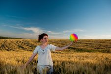 Free Young Woman At Wheat Stock Photography - 15020812