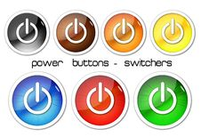 Free Color Power Buttons Royalty Free Stock Photos - 15024098
