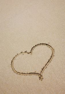 Free Heart On Sea Sand Royalty Free Stock Image - 15024496