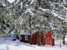Snowcovered Barn Stock Photo