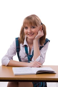 Schoolgirl Doing Her Homework. Stock Photo