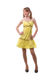 Young Girl In A Bright Yellow Dress Stock Images
