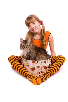 Free Little Girl Wearing Orange Dress Is Sitting Stock Photos - 15025493