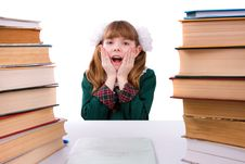 Schoolgirl Is Shocked By Something. Royalty Free Stock Image