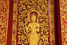 Free Thai Texture On The Temple Door Stock Images - 15025984
