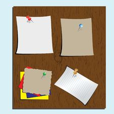 Push Pins And Paper Notes At Wood Background Royalty Free Stock Image