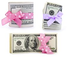Dollar Bills With A Bow Stock Image