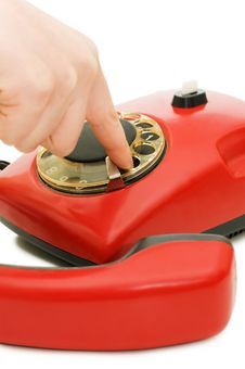 Free The Girl Dials Number On Red Phone Stock Images - 15028694