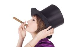 Girl In Top Hat (cylinder) With Cigar