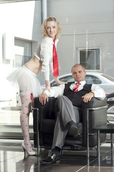 Free Cute Young Babydoll And The Boss Stock Photography - 15029842