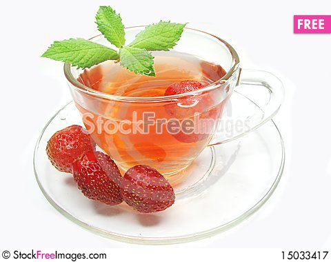 Free Fruit Tea With Strawberry And Mint Royalty Free Stock Photography - 15033417