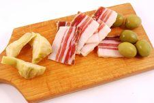Free Bacon, Green Olives, Artichokes Stock Photos - 15030053