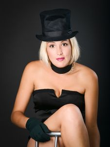 Free Dark Picture Of Woman In Black Dress And Top Hat Stock Photos - 15031123