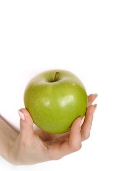 Free Green Apple In A Beautiful Hand Of Woman Royalty Free Stock Images - 15031279