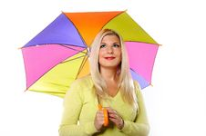 Free Pretty Autumn Woman Standing Under Umbrella Royalty Free Stock Images - 15031589