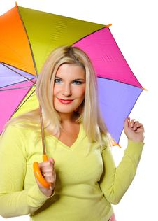 Free Pretty Autumn Woman Standing Under Umbrella Royalty Free Stock Photography - 15031657