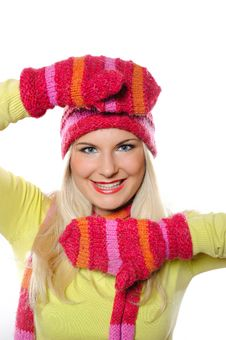 Free Pretty Funny Winter Woman In Hat And Gloves Stock Photo - 15031720