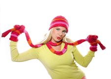 Free Pretty Funny Winter Woman In Hat And Gloves Stock Images - 15031734