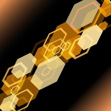 Colourful Bokeh From Hexagons In Orange Colour Stock Photography