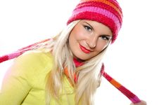 Free Pretty Funny Winter Woman In Hat And Gloves Stock Images - 15031784