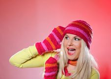 Free Pretty Funny Winter Woman In Hat And Gloves Scream Royalty Free Stock Photo - 15031815