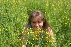 Free The  Woman On A Grass Stock Photo - 15031990