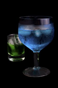 Free Blue Curacao And Absinthe In A  Glass Stock Photos - 15032033