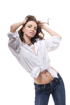 Free Sexy Woman In White Shirt Isolated On White Stock Image - 15032541