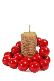 Free Candle With Red Beads Stock Photo - 15033180
