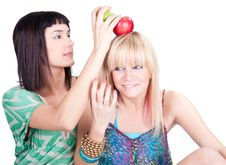 Free Two Young Pretty Women Posing With Apples Stock Images - 15033374