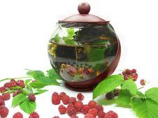 Free Teapot Among Fresh Raspberry Stock Photo - 15033380