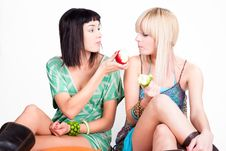 Free Two Young Pretty Women Posing With Apples Royalty Free Stock Photo - 15033395