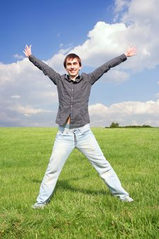 Free Young Man In Black Shirt Standing On Green Lawn Royalty Free Stock Photos - 15033568