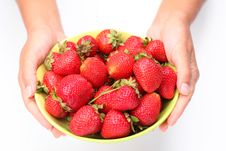 Free Crockery With Strawberries In Woman Hands. Stock Images - 15033724
