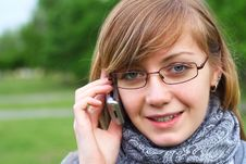 Free The Girl Speaks By Phone Royalty Free Stock Photo - 15034625