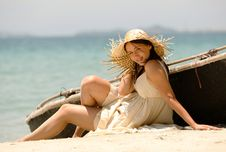The Girl At The Sea Stock Image