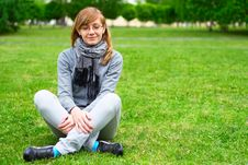 Free The Girl Sits On A Grass Royalty Free Stock Image - 15035046
