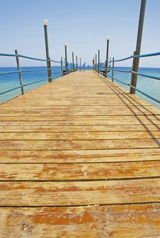 Wooden Jetty On A Tropical Beach Stock Photography